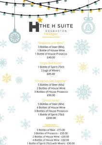 Drinks List Packages specials Winter Wonderland Christmas Party The H Suite