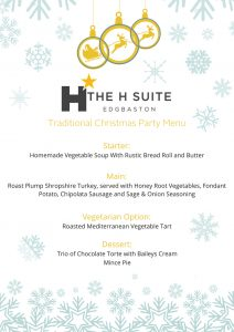Winter Wonderland menu The H Suite Christmas Party 2018